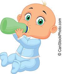 bebé, niño, bebida, caricatura, leche