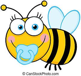 bebé, niño, carácter, caricatura, abeja