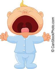 bebé, niño, caricatura, llanto