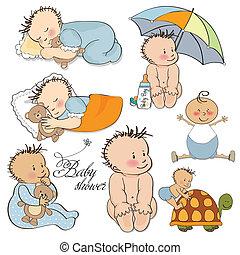 bebé, niño, conjunto, aislado, conjunto