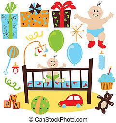 bebé, niño, cumpleaños, retro, fiesta