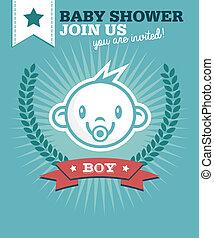 bebé, niño, ducha, invitación