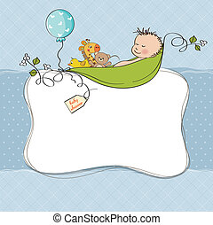 bebé, niño, ducha, tarjeta