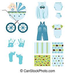 bebé, niño, elementos