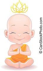 bebé, niño, encantador, meditar, budista