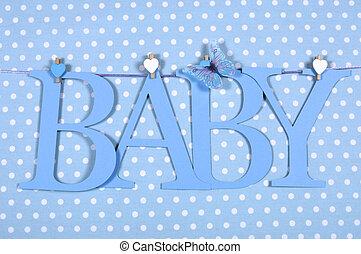 bebé, niño, guardería infantil, cartas, azul