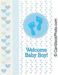 bebé, niño, huellas, nacimiento, announcem