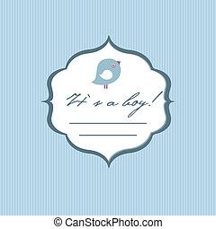 bebé, niño, llegada, card., anuncio