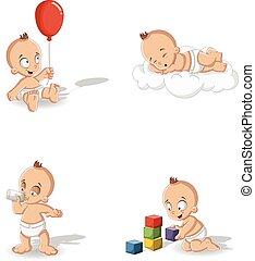 bebé, niño, llevando, pañal