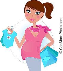 bebé, niño, mamá, aguardar, embarazada