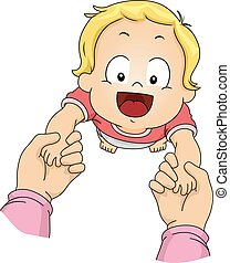 bebé, niño, mano, niño, caminata
