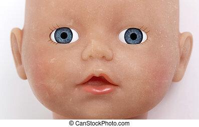 bebé, niño, muñeca, cara