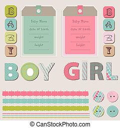 bebé, niño, niña, conjunto, álbum de recortes