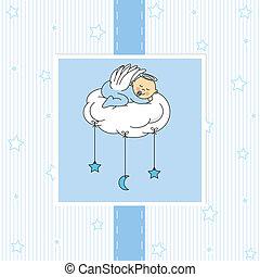 bebé, niño, nube, sueño
