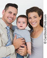 bebé, niño, padres, amoroso