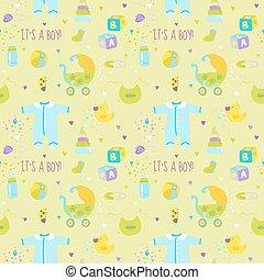 bebé, niño, plano de fondo, -, seamless, patrón, para, diseño, o, álbum de recortes, -, en, vector