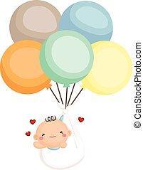bebé, niño, recién nacido, mosca, con, globo