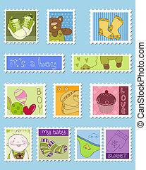 bebé, niño, sellos, franqueo