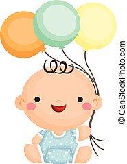 bebé, niño, sentarse, tenencia, globo