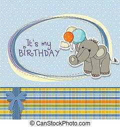 bebé, niño, tarjeta de cumpleaños