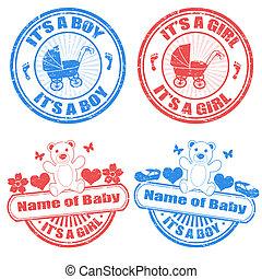bebé, niño, y, nena, sellos