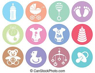 bebé, niño y niña, iconos
