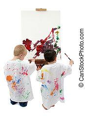 bebé, niños, caballete, pintura, dos