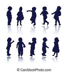 bebé, niños, niños, siluetas