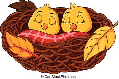 bebé, nido, pájaro, caricatura, sueño