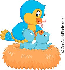 bebé, nido, pájaro