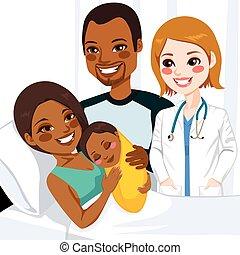 bebé, norteamericano, mamá, abrazar, africano