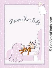 bebé, nuevo, niña, bienvenida