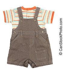 bebé, overol, conjunto, ropa
