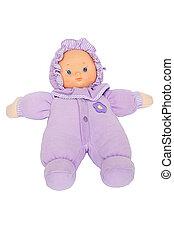 bebé, púrpura, muñeca, traje