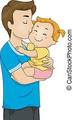 bebé, padre, beso