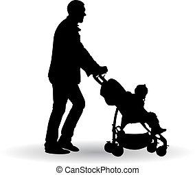 bebé, padre, empujar, cochecito de niño