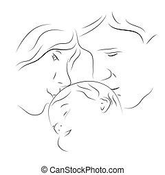 bebé, padres