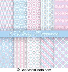 bebé, pastel, diferente, vector, seamless, patrones,...