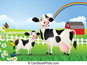 bebé, pasto, vaca, madre