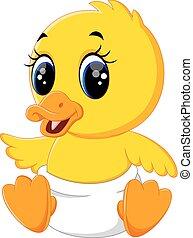 bebé, pato, caricatura, lindo