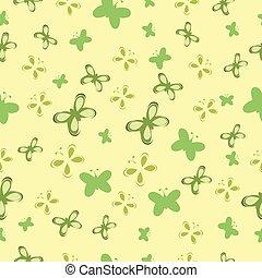 bebé, patrón, con, verde, mariposas