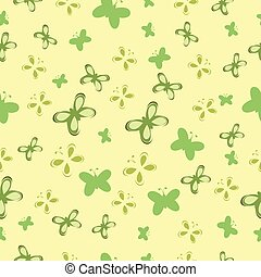 bebé, patrón, mariposas, verde
