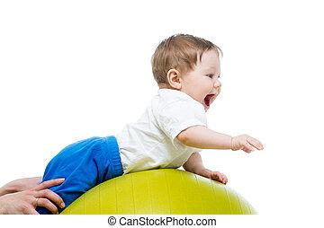 bebé, pelota, gimnástico