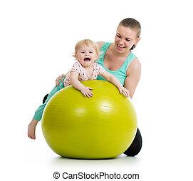 bebé, pelota, gimnasia, madre, condición física