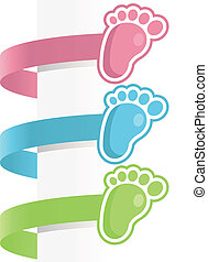 bebé pies, etiquetas