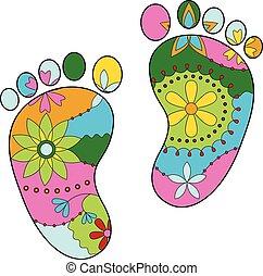 bebé pies, pintado, siluetas