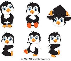bebé, pingüino, caricatura, conjunto, posar