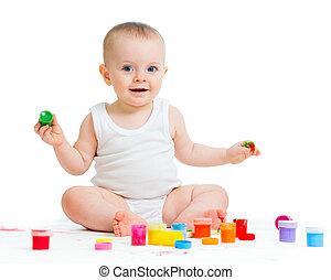 bebé, pinturas, niña