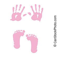 bebé pisada, niña, -, handprint