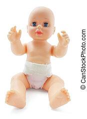 bebé, plástico, muñeca